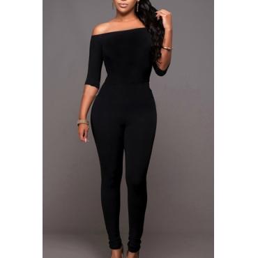 kontrahiert Stil trägerlos Halbarm schwarz QMilch einteiliges dünn jumpsuits