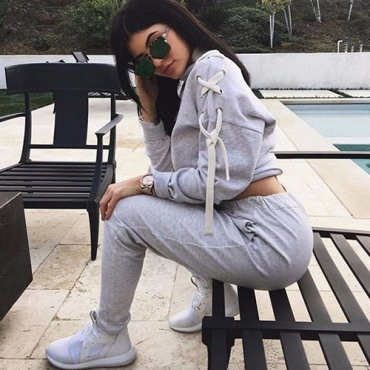 Leisure Round Neck Long Sleeves Lace-up Grey Cotton Two-piece Pants Set