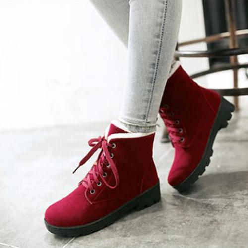 Стильный круглый носок на шнуровке клин пятки середины красный замша Мартин сапоги