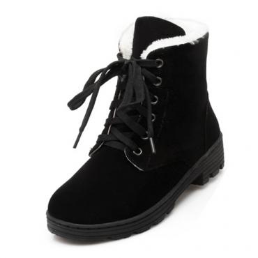 elegante rodada toe lace-up cunha meados de calcanhar de camurça preta Martin botas