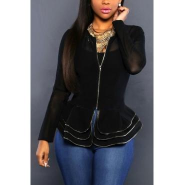Sexy Round Neck Long Sleeves Falbala Design Black Polyester Coats