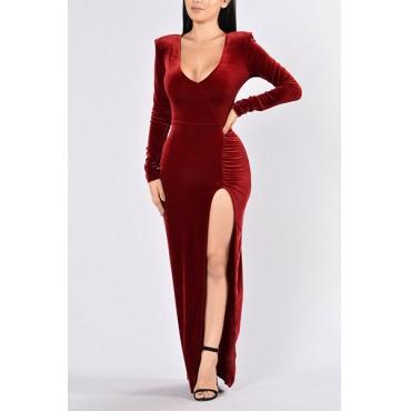 Reizvolles V Ansatz-lange Hülsen-Seite aufgeteilte rote Samtbodenlänge Kleid