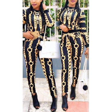 Stylish Round Neck Long Sleeves Iron Chain Printed Qmilch Two-piece Pants Set