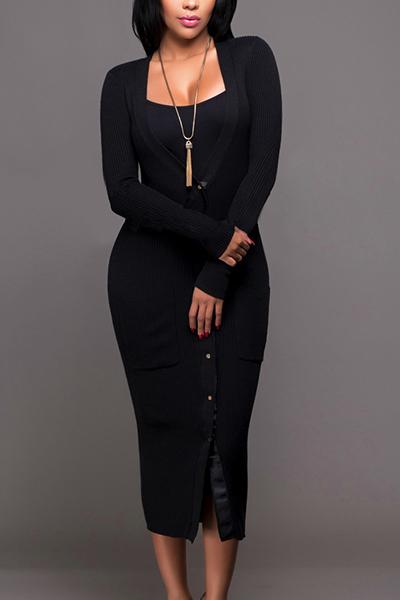 euramerican v ausschnitt lange rmel einzeln breasted schwarze. Black Bedroom Furniture Sets. Home Design Ideas