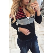 Leisure Round Neck Long Sleeves Striped Black Polyester Sweater