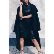 Stylish Turndown Collar Long Sleeves Black Polyester Long Wool Coat