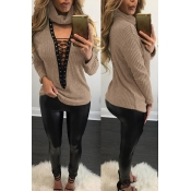 Sexy Round Neck Long Sleeves Hollow-out Khaki Cotton Sweater