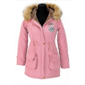 Stylish Fur Collar Long Sleeves Drawstring Pink Cotton Parkas