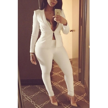 Stylish Turndown Collar Long Sleeves White Polyester Two-piece Pants Set