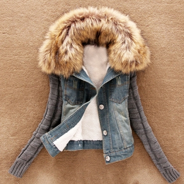 Stylish Hooded Collar Long Sleeves Fur Decorative Denim Coat