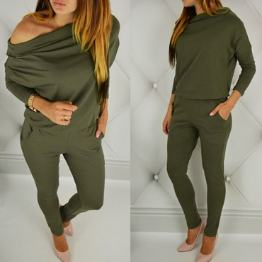 Contracted Style Boat Neck Long Sleeves Green Cotton Blends One-piece Skinny Jumpsuits