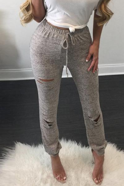 Ocio cintura elástica cintura roto agujeros algodón gris mezcla polainas