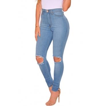Stylish High Waist Broken Holes Blue Cotton Skinny Pants