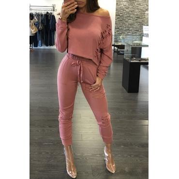 Freizeitrunde Ansatz lange Hülsen gebrochene Löcher rosafarbene Polyester-zweiteilige Hosen eingestellt