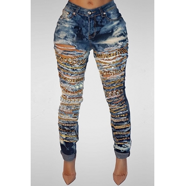 Fashion High Waist Denim Metal Chain Decorative Blue Denim Pants