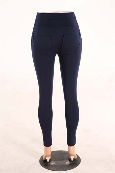 Stylish Mid Waist Polyester Patchwork Ming Blue Polyester Leggings