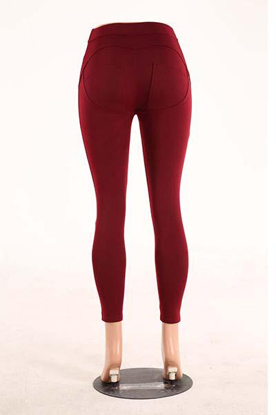 Elegante meia cintura poliéster patchwork vinho vermelho leggings de poliéster