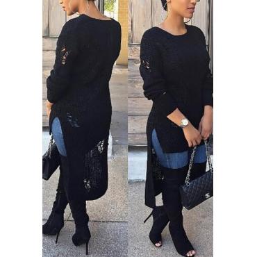 Trendy Round Neck Long Sleeves Asymmetrical Black Blending Mid Calf Dress
