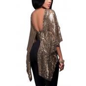 Trendy Round Neck Sleeveless Backless Black Polyester Blousing Blouse