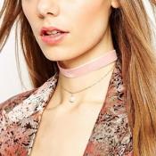 Fashion Pearl Decorative Pink Flocking Choker