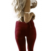 Stylish Mid Waist Polyester Patchwork Wine Red Polyester Leggings
