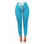 Euramerican Elastic Waist Lace-up Lake Blue Cotton Skinny Pants