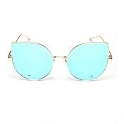 Euramerican Cat's Eye Shaped Blue Metal Sunglasses