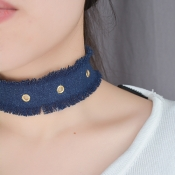 Fashion Metal Holes Decorative Dark Blue Fabric Choker