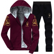 Leisure Hooded Collar Long Sleeves Embroidery Wine Red Cotton Two-piece Pants Set