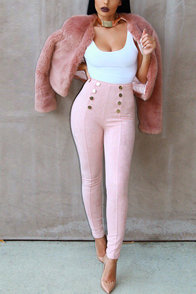 Trendy Round Neck Long Sleeves Pink Faux Fur Coat