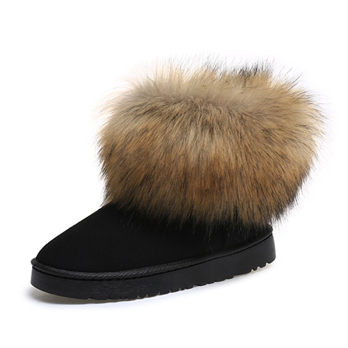 модный дизайн круглый носок мех плоский каблук низкий черный замша короткий снегоступы