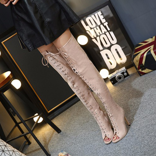 Trendy Round Peep Toe Lace-up Hollow-out Stiletto Super High Heel Apricot Suede Over The Knee Boots