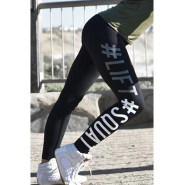 Casual alta cintura letras impressas leggings de algodão preto