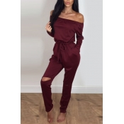 Contracted Style Bateau Neck Strapless Long Sleeves Broken Holes Wine Red Polyester One-piece Jumpsuits