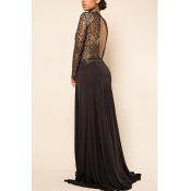 Sexy Round Neck Long Sleeves Lace Patchwork Black Floor length Dress