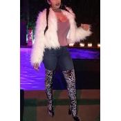 Trendy Long Sleeves White Faux Fur Coat