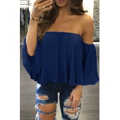 Leisure Bateau Neck Long Sleeves Flouncing Design Blue Chiffon Blousing Blouse