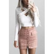 Trendy V Neck Long Sleeves Cross Bandage White Polyester Blouse
