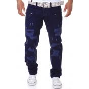 Euramerican Mid Waist Broken Holes Dark Navy Cotton Pants