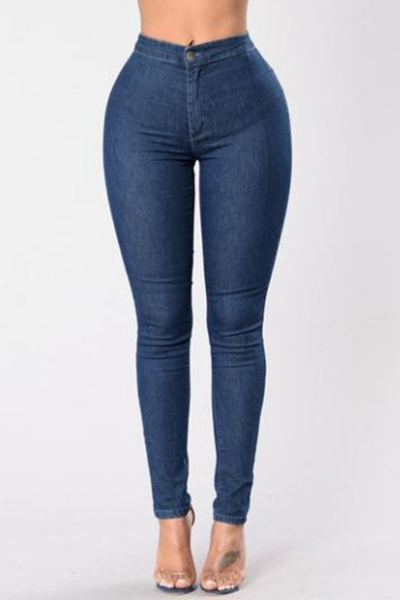 Stylish High Waist Dark Blue Denim Skinny Pants