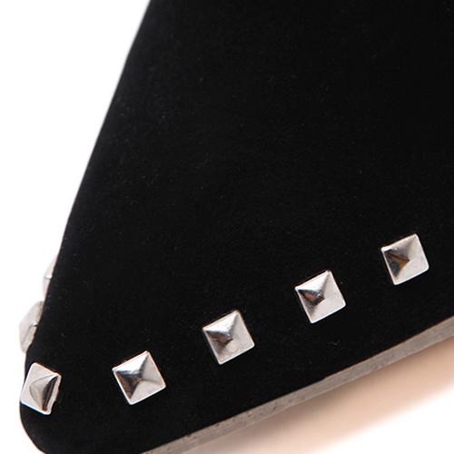 Puntiagudo puntiagudo puntiagudo remache estilete decorativo stiletto estupendo alto tacón negro corto remaches botas