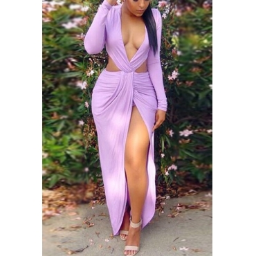 Sexy V Neck Long Sleeves Hollow-out Purple Qmilch heath Knee Length Dress