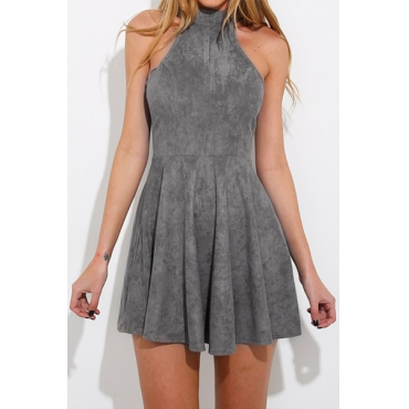 Velvet Sleeveless Mini Dresses