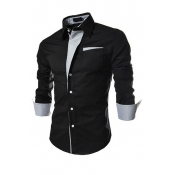 Stylish Turndown Collar Long Sleeves Patchwork Black Cotton Shirts