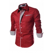 Stylish Turndown Collar Long Sleeves Patchwork Wine Red Cotton Shirts
