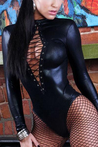 Sexy cuello redondo mangas largas Negro Faux monos de una sola pieza