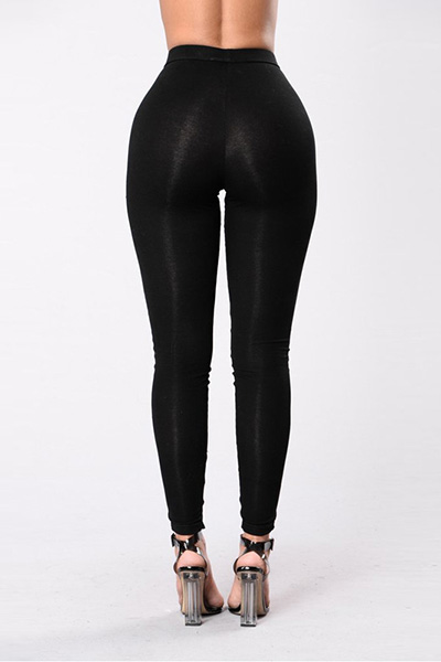 Stylish High Waist Hollow-out Black Polyester Leggings
