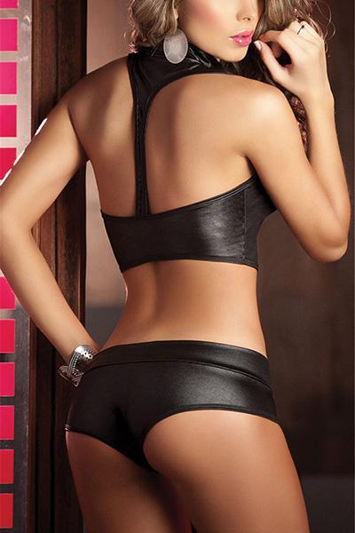 Sexy Deep V diseño del botón Negro Negro Faux cuero de dos piezas Shorts Set