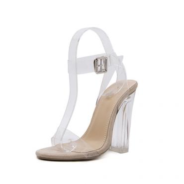 Стильный острым носом полым из Stiletto Супер Высокий каблук абрикос PU сандалии