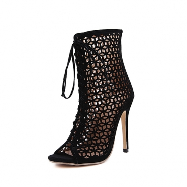 Stylish Pointed Peep Toe Lace-up Hollow-out Stiletto Super High Heel Black Suede Ankle Strap Sandals